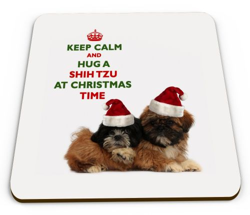 Christmas Keep Calm And Hug A Shih Tzu Novelty Glossy Mug Coaster